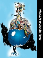 Cartoon\OverPopulation: cartoon-Human-Overpopulation-hanging-on-globe