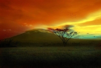 Landscape: Red-clouds-above-hill-in-savanne